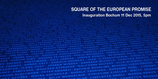 Jochen GERZ: inauguration of the Square of the European Promise (2015). Bochum, Germany